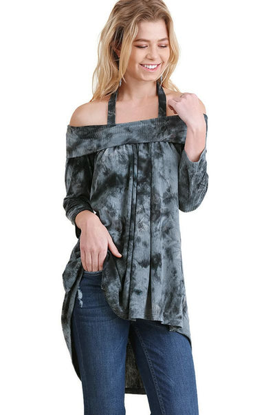 Tie Dye Off The Shoulder High Low Tunic, Black
