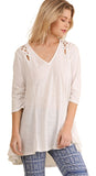 Criss Cross Cutout Detail Tunic, Off White