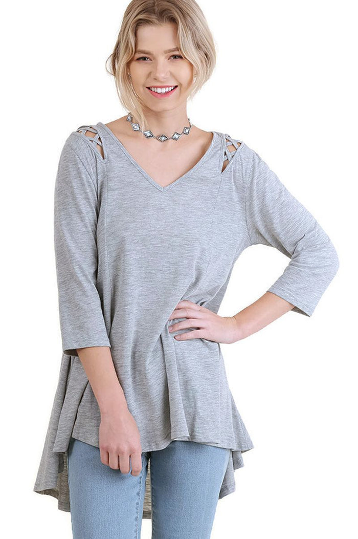 Criss Cross Cutout Detail Tunic, Heather Grey