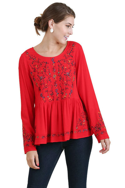 Floral Embroidered Ruffled Top, Chili