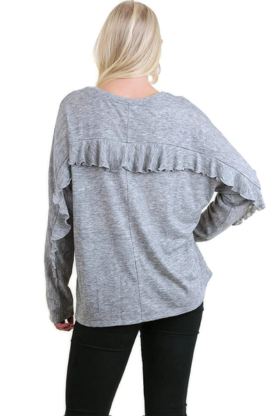 Ruffle Detail Long Sleeve Top, Heather Grey