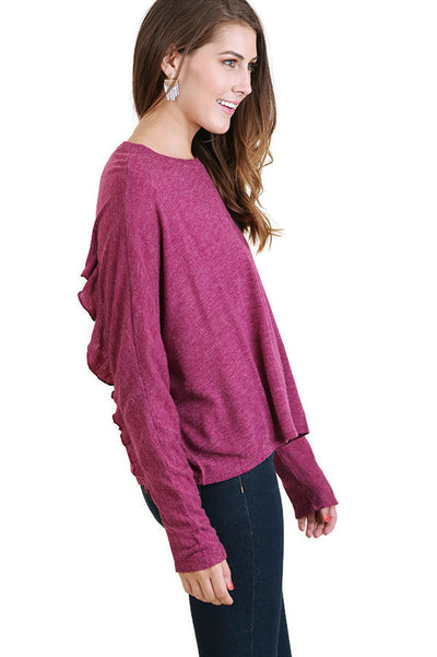 Ruffle Detail Long Sleeve Top, Mulberry