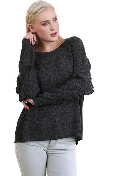 Ruffle Detail Long Sleeve Top, Black