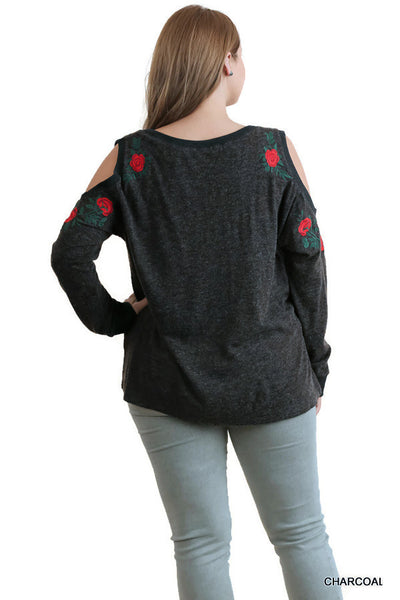 Floral Embroidered Long Sleeve Top, Charcoal