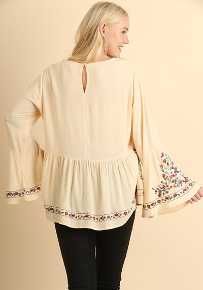 Floral Embroidered Ruffled Top, Vanilla