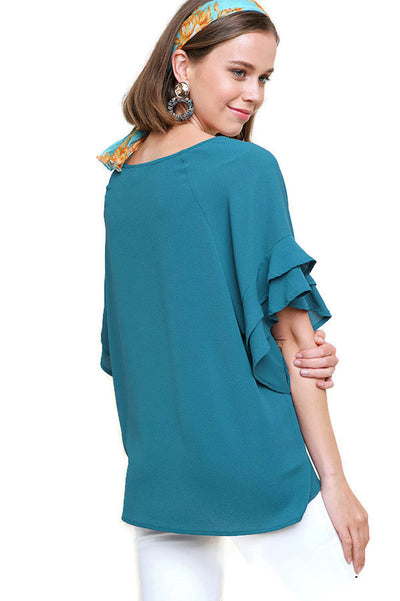Layered Ruffle Sleeve Blouse, Teal