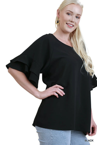 Layered Ruffle Sleeve Blouse, Black