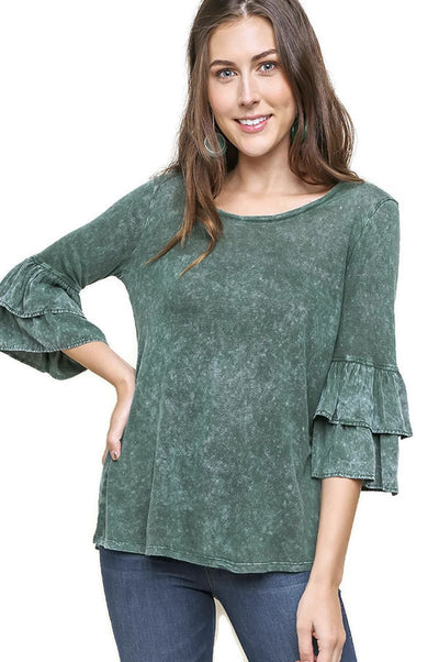 Mineral Washed Layered Ruffled Bell Sleeve Top, Army