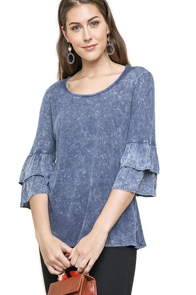 Mineral Washed Layered Ruffled Bell Sleeve Top, Blue