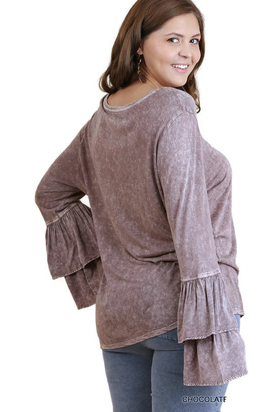 Mineral Washed Layered Ruffled Bell Sleeve Top, Truffle