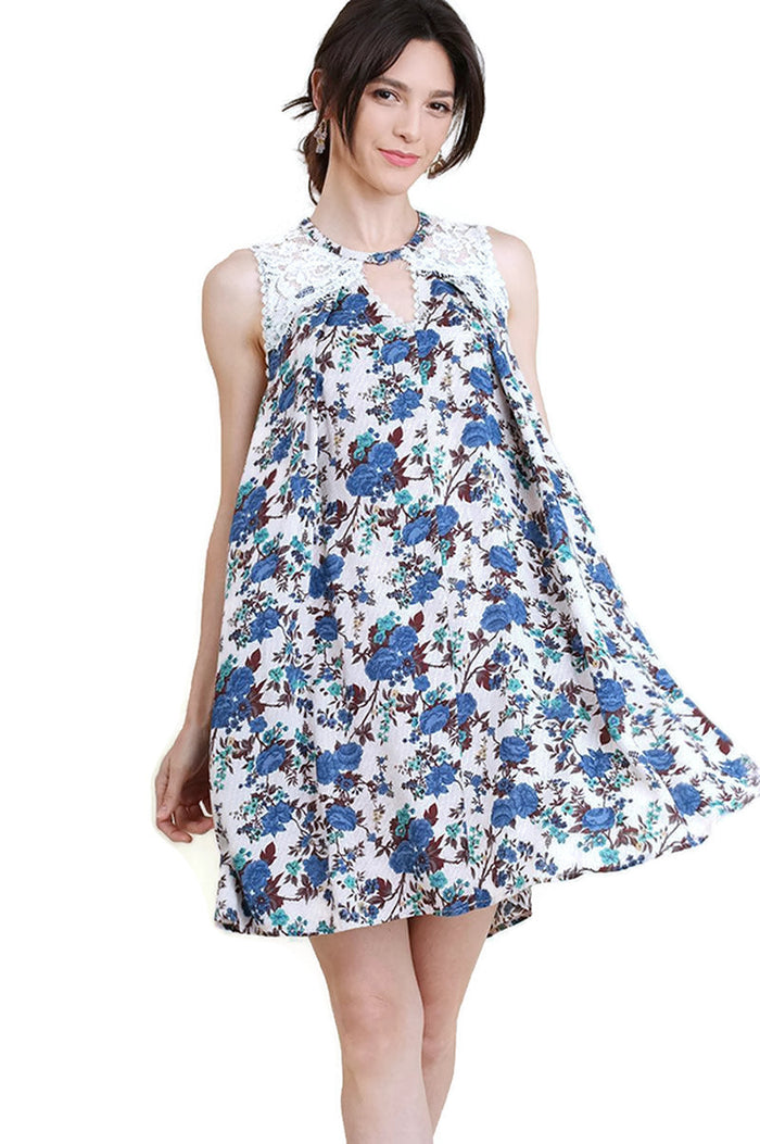 Floral & Lace Sleeveless Dress, Blue