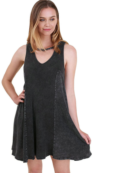 Mineral Washed Keyhole Dress, Ash