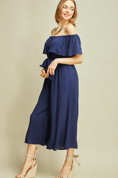 Wherever Off the Shoulder Jumpsuit, Navy