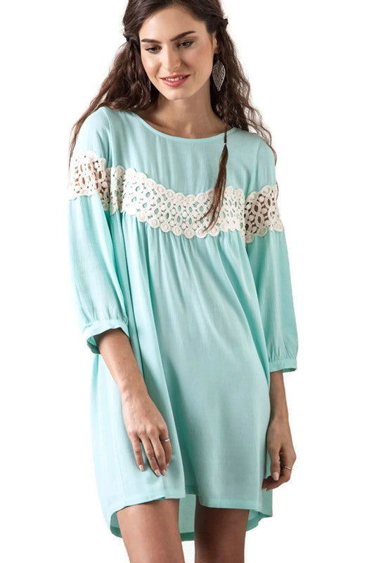 Peak of Lace Baby Doll Dress, Light Sage