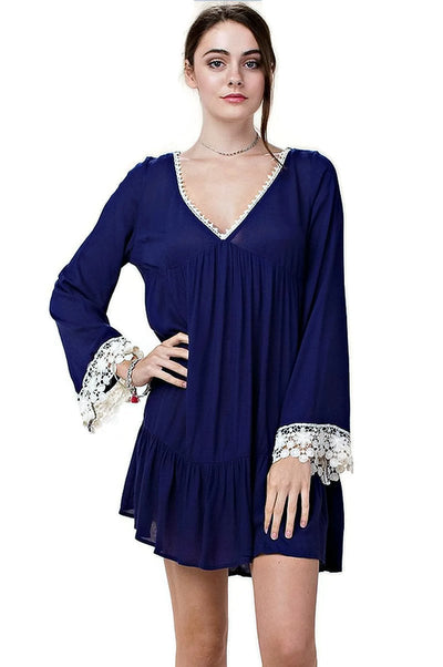 Bell Sleeve Lace Dress, Navy