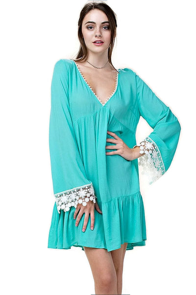 Bell Sleeve Lace Dress, Jade