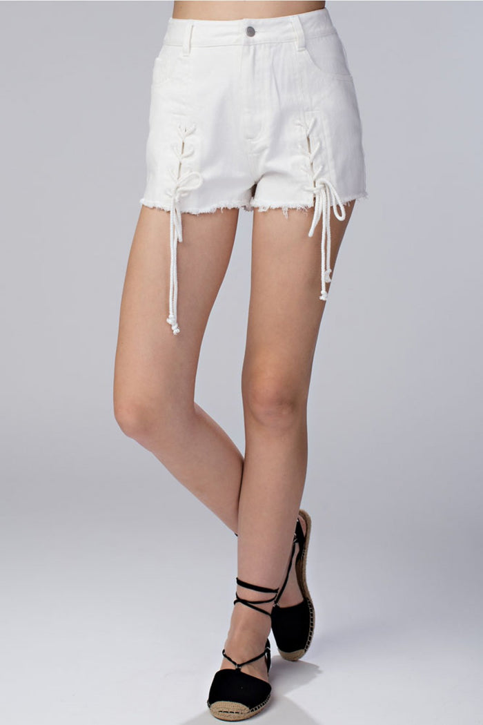 Lace Up Frayed Denim Shorts, White