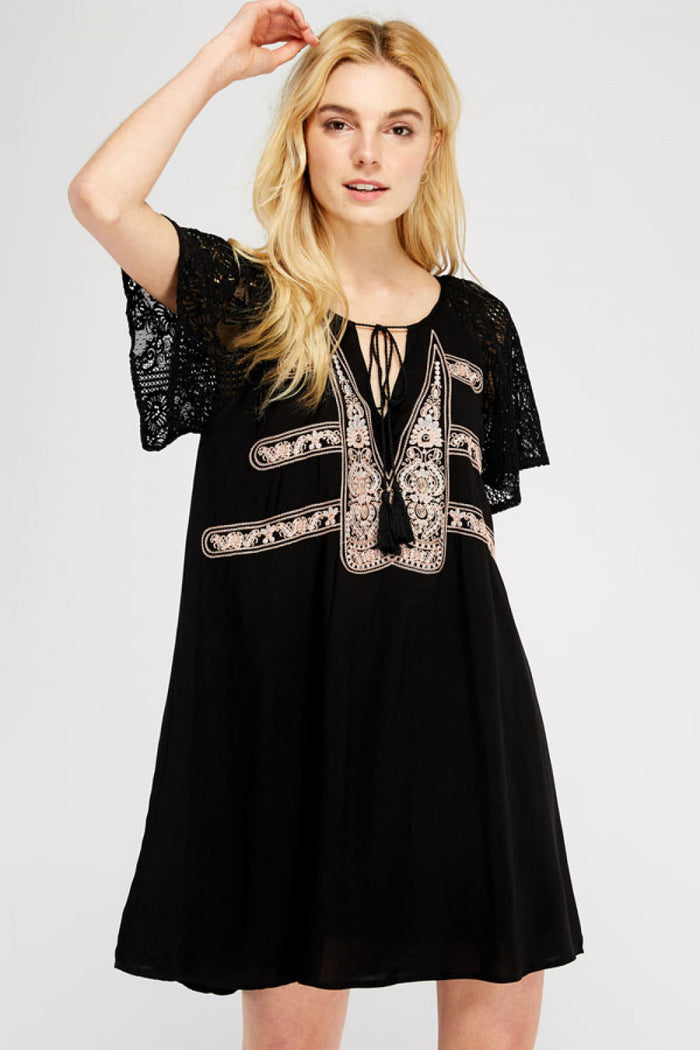 Lace & Embroidered Mini Dress, Black