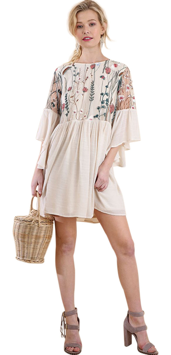 Floral Embroidered Lace Angel Sleeve Dress, Natural
