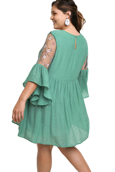 Floral Embroidered Lace Angel Sleeve Dress, Sage
