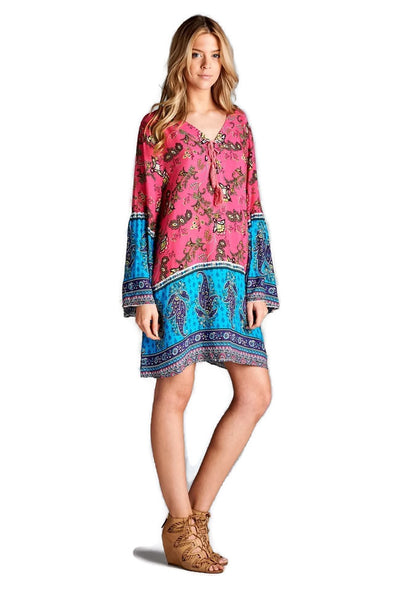 Paisley Bell Sleeve Dress, Pink