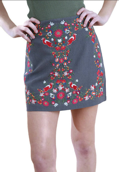 Floral Embroidered High Waist Mini Skirt, Grey