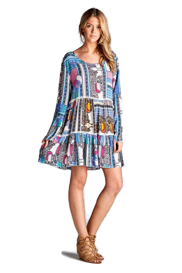 Paisley Multi-Color Bell Sleeve Dress, Pink