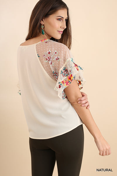 Floral Embroidered Layered & Ruffled Sleeve Top, Natural