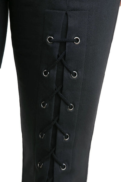High Waist Leggings with Lace Up Details, Black