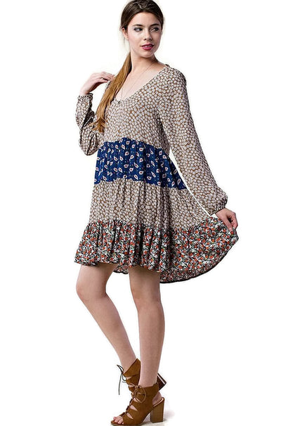 Mixed Print Tie Back Dress, Taupe