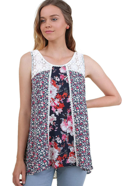 Twin Print Lace Sleeveless Top, Navy Mix