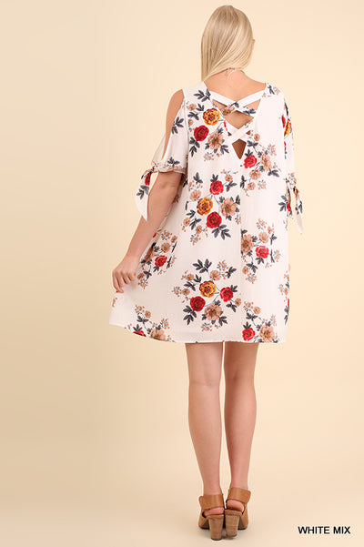 Floral Print Cut Out Dress, White Mix
