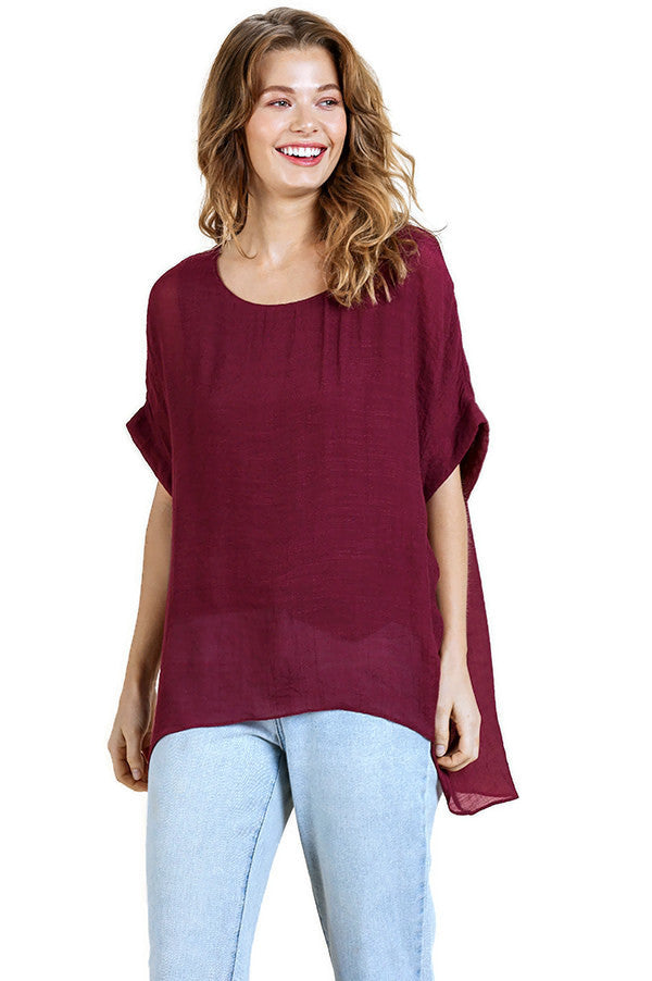 UMGEE SHEER DOLMAN SLEEVE TOP