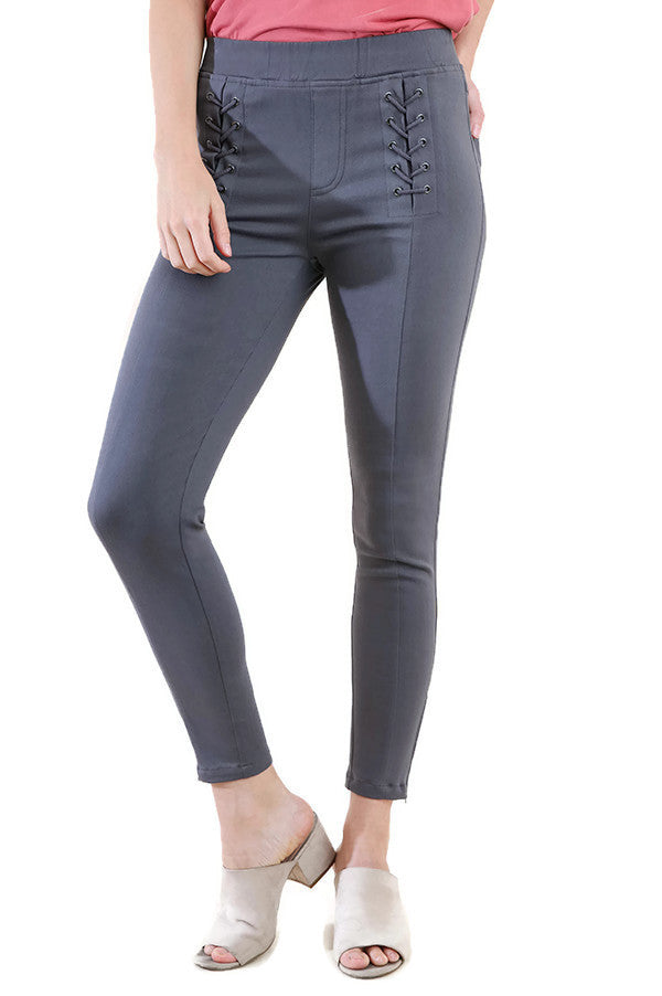 Lace Up Leggings, Charcoal