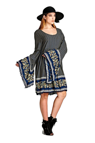 Paisley Print Bell Sleeve Dress