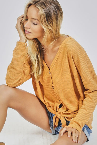 Thermal Knit Tie Top, Mustard