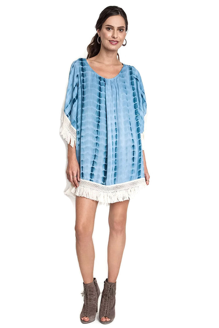 Tie Dye Tassel & Fringe Dress, Teal