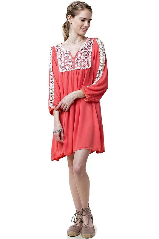 Lace Peasant Dress, Coral
