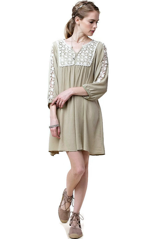 Lace Peasant Dress, Taupe
