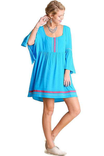 Embroidered Bell Sleeve Peasant Dress, Blue