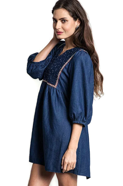 Denim Peasant Dress, Deep Denim