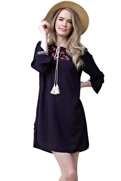 Floral Embroidered Shift Dress, Navy