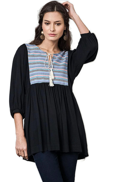 Tribal Embroidered Baby Doll Tunic, Black