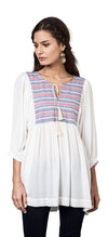 Tribal Embroidered Baby Doll Tunic, Off White
