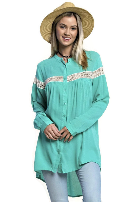 Button Up Lace Trim Tunic, Mint