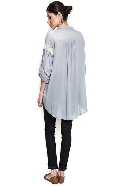 Button Up Lace Trim Tunic, Grey