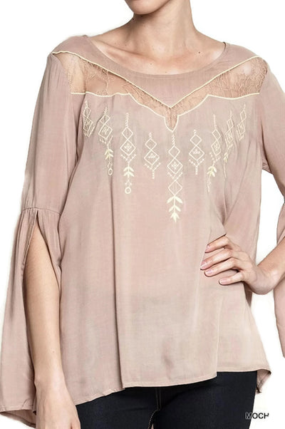 Angel Sleeve Tribal Blouse, Mocha