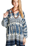 Paisley V-Neck Mini Dress, Blue