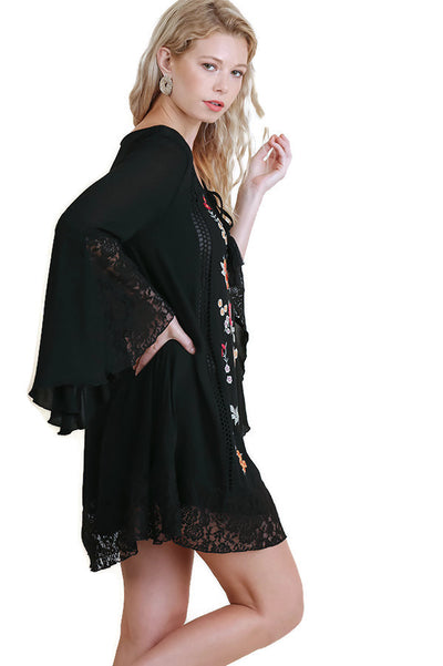 Floral & Lace Embroidered Dress,  Black