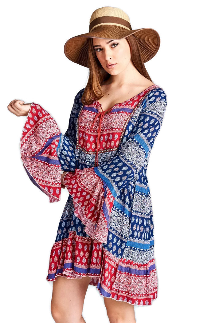 Tassel Tie Bell Sleeve Mini Dress, Blue